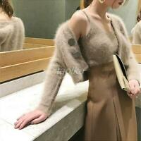 Women 2pcs suit Sweater Mohair Mink fur Loose Top Jumpers vest+cardigans coat sz
