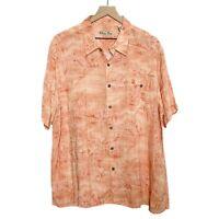 Batik Bay Orange Short Sleeve Hawaiian Button Down Shirt Mens XXL