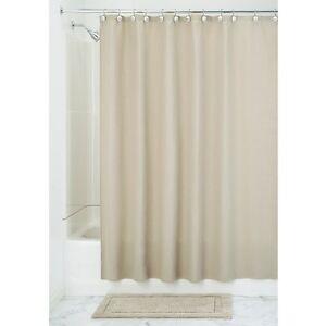 InterDesign York Hotel Fabric Cotton & Polyester Blend Shower Curtain-Beige-NWT