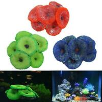 1x Aquarium Artificial Fake soft Disc Coral Plant Fish Tank Multi Ornament P5Q4