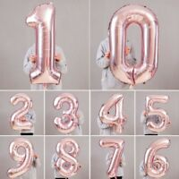 "40"" Giant Foil Number Helium Large Baloon Birthday Party Wedding Decor Rose Gold"