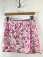 Ann Taylor Loft Womens Floral Wrap Skirt Sz 2 Cotton Pink
