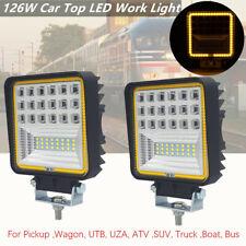 "2X 4.3"" 126W Car Top LED Work Light Flood Beam Driving Fog Lamp For Marine Train"