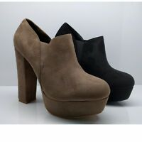WOMENS LADIES SUEDE BRCHUNKY BLOCK PLATFORM HEELS CHELSEA ANKLE BOOTS SIZE