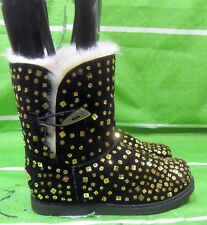 new ladies Black/Gold Sequin Round Toe Winter Ankle Boot Size 7.5