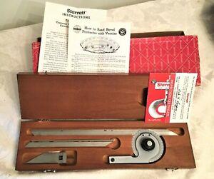 """Starrett Precision Bevel Protractor No. C359FZ w 7"""" & 12"""" Blades in Case & Box"""