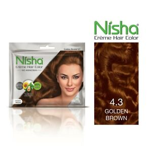 Nisha Golden Brown Permanent Cream Hair Color 100% Grey Coverage (Pack of 6)