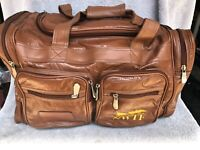 NWTF Saddle Duffle Bag, Weekender Carry-on, vinyl faux leather Distressed