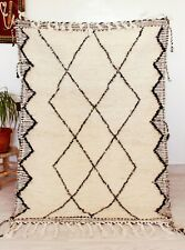 White Moroccan Beni Ourain Rug 5x3 ft Authentic Moroccan Tribal Berber Wool Rug