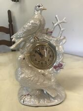 Iridescent Ceramic Table Top Clock, Birds