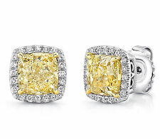 Stud Earring Solid 925 Sterling Silver Yellow Cushion Vintage Jewelry Cz Women