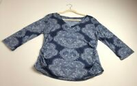 New York & Company Women's ¾ Sleeve Blouse Top XL Blue White Floral V Neck