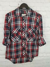 Zara Women's M Red White and Blue Plaid Button Up Shirt Prem. Denim Collection