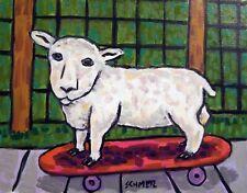 sheep lamb skate boarding art print 8.5x11 animals impressionism glossy