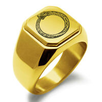 Stainless Steel Greek Mythology Ouroboros Mens Square Biker Style Signet Ring