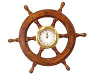 "Ship's Steering Wheel 18"" w/ Brass Clock Wooden Nautical Wall Decor New"