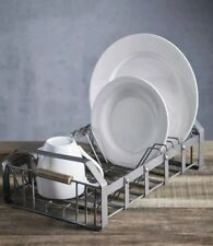 Kitchencraft Industrial Kitchen Metal & Acacia Wood Dish Drainer New