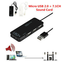 Mini USB 2.0 Hub with 7.1 Channel Audio Sound Card Sound Adapter For PC Laptop