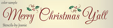 Joanie Stencil Family Merry Christmas Y'all Holly Mistletoe Country Home Signs