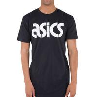 Asics Mens Corporate Logo T Shirt Tee Top Black Sports Gym Outdoors Running