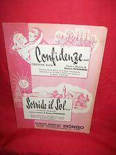 NILLA PIZZI Confidenze + Sorride il Sol (Musiche Enrico Schmerel) 1959 Spartiti