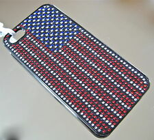 American Flag Kalifano Crystal Iphone 5 Cell Phone Case with Czech Rhinestones