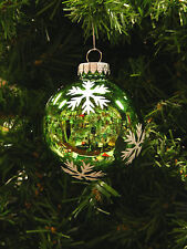 MERCURY STYLE GLASS GREEN w/GLITTER SNOWFLAKE CHRISTMAS TREE ORNAMENT
