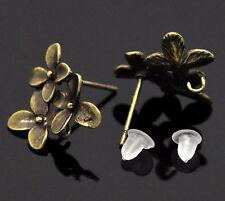 25 Paires Clous tiges Boucle d'oreille en Cuivre&Embouts Couleur Bronze 15x14mm