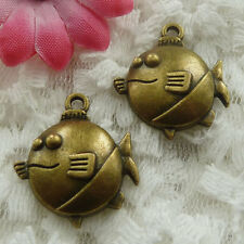 Free Ship 90 pieces bronze plated fish charms 24x21mm #738