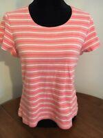 Croft & Barrow Sz XL Stretch Short Sleeve Peach Ribbed Knit Top T-Shirt Striped
