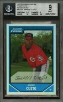 2007 bowman chrome propects refractors #bc145 JOHNNY CUETO reds rookie BGS 9