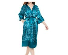plus size self tie luxe SATIN ROBE by Amoureuse 5X 38 40 teal print f3