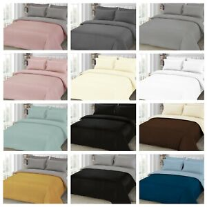 Plain Duvet Quilt Cover with Pillowcase Bedding Set All Size or Fitted Sheet