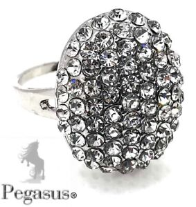 SIZE R - Beautiful Large Oval Ferido Paved Clear Crystal Ladies Ring