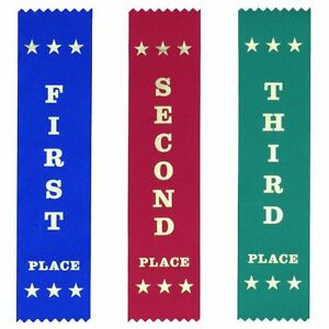 25 Each First Second Third Place Ribbons 200x50 mm, Metallic GOLD, 10% discount!