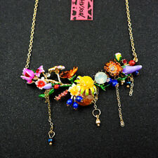 Hot Colorful Crystal Flower Betsey Johnson Fashion Pendant Sweater Necklace