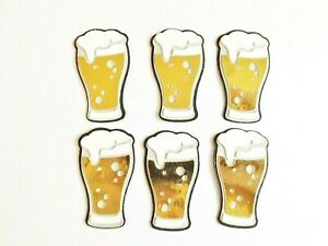 Beers Pint Glasses Papercraft Embellishments Scrapbooking Card Toppers Crafts