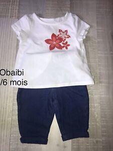 Obaibi Okaidi 3 / 6 MOIS Fille / t shirt fleur+ jean  TBE