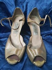"UK3 COMME il FAUT Tango Buenos Aires Handmade Gold Leather Dance Shoes 3"" Heels"