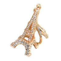 Crystal Eiffel Tower Rhinestone Keyring Charm Pendant Purse Bag Keychain DS