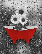 Sunflower Red Gray Bathroom Powder Room, Bedroom Red Wall Art Matted Picture