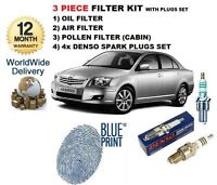 FOR TOYOTA AVENSIS 1.8i 2003-2009 OIL AIR POLLEN FILTER SET & SPARK PLUGS KIT