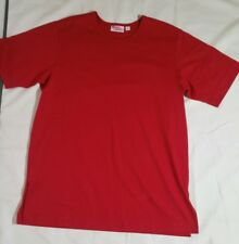 D & Co. Essentials Red Tunic Top Shirt Cotton Round Neck Size M Slit Sides