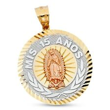 Mis 15 Anos Virgin Mary Pendant 14k Yellow White Rose Gold Quinceanera Charm