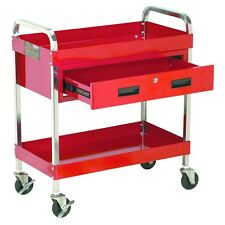 """30"""" Large 350 lb. Capacity Glossy Red Service Cart w/Locking Drawer & 4"""" Casters"""