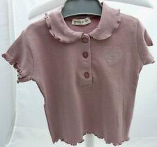 GRAIN DE BLE - tee-shirt manche courte vieux rose -motif coeur bébé fille 6 mois
