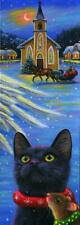 ACEO BLACK CAT WINTER CHRISTMAS VILLAGE SNOW ANGEL WINGS SLEIGH CHURCH PAINTING