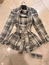 Zara Double Button Check Belted Black & White Jacket Size Small