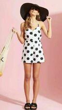 Neon Rose Playsuit Large Spot Print White Cotton New Size XS 8 New Cotton Romper