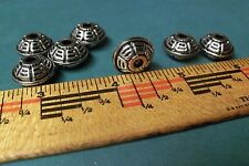 7 SILVER TONE GREEK KEY DESIGN SPACER/OBLONG BEADS CRAFTING JEWERLY MAKING